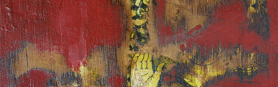 "Artist: Detail from ""Sutra"" Mixed Media on Canvas"